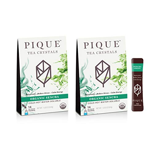 Pique Organic Sencha Japanese Green Tea Crystals, Antioxidants, Energy, Gut Health, 28 Single Serve Sticks (Pack of 2)