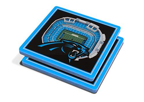 Carolina Panther Colors (YouTheFan NFL 3D Team StadiumViews 4x4 Coasters - Set of 2, Carolina Panthers, 4