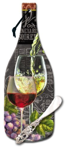 CounterArt Wine Bottle Shaped 12-1/2-Inch Glass Cheese Board with Spreader Knife, (Wine Bottle Cheese Board)