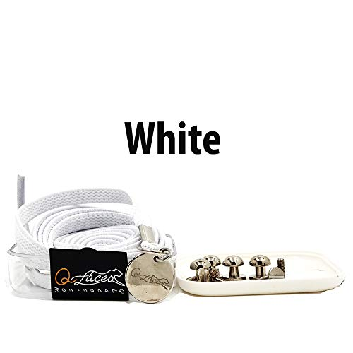 Qlaces White No Tie Shoelaces - Nylon Elastic One Handed Shoe Laces for Adults and Kids Sneakers and Fashion Shoes
