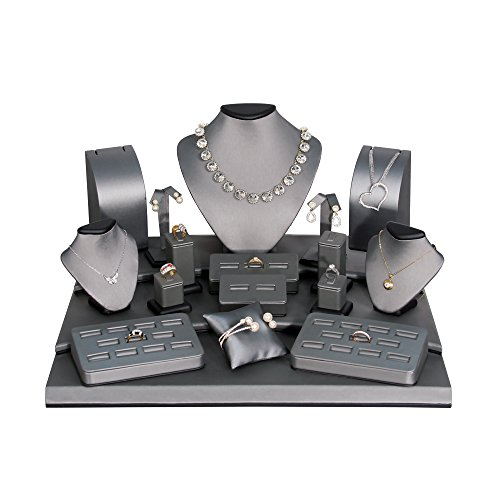 (19-Pc Set) Steel Grey with Black Trim Faux Leather Jewelry Display (Set79-87R), 19 1/4'' x 17'' x 10 1/2''H by EDS BOX JEWELRY SUPPLY