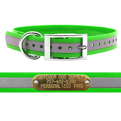 "Outdoor Dog Supply 1"" Wide Reflective D Ring Dog Collar Strap with Custom Brass Name Plate (19"" Long, Reflective Lime Green)"