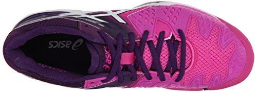 Asics Gel Resolution 6 WIDE Damen Tennisschuh Weiß / Silber - WIDE Version Pink / Weiß / Lila