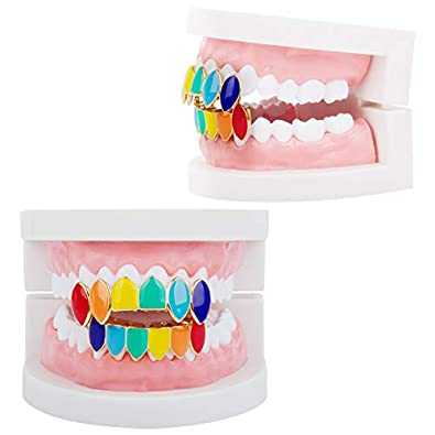 Amazon.com: TSANLY Juego de dentadura de oro estilo arco ...
