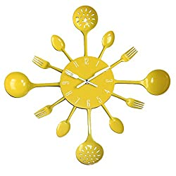 UNIQUEBELLA Metal Kitchen Cutlery Utensil Wall Clock Spoon Fork Home Decor Wanduhr horloge murale (Yellow)