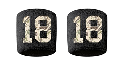#18 Embroidered/Stitched Sweatband Wristband BLACK Sweat Band w/ MONEY PRINT Number (2 Pack)