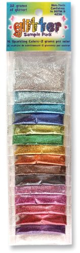 Glitter Sample Pack 2 Grams 16/Pkg-Assorted Colors 1 pcs sku# 656118MA