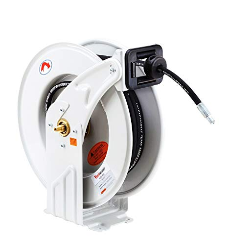 REELWORKS Oil Hose Reel Retractable 1/2' x 50' Feet ELITE Long Premium Commercial SAE.100R1AT Hose MAX 2320 PSI Spring Driven Steel Construction Heavy Duty Industrial Dual Arm & Pedestal