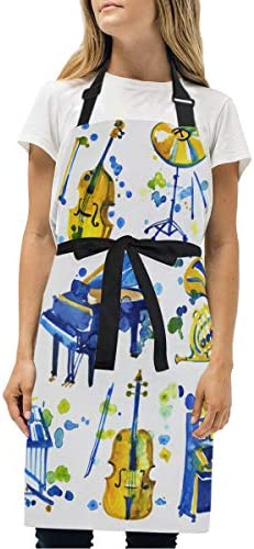 EILANNA エプロン ピアノを含むかわいい水彩楽器 ファッションパターン 調節可能首掛け カフェ風 業務用 家庭用 作業用 男女兼用 シンプルデザイン