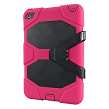 IIYBC Brand for Apple iPad Mini 4 Defender Shockproof Survivor Military Duty Hybrid Hard Case with Soft Silicone (Hot Pink)