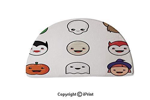 LEFEDZYLJHGO Carpets Floor Mat Cover Floor Rug Indoor Area Rugs,Washable,30x18 inch,Cute Kawaii Halloween Icons Set Funny Monster Faces ()