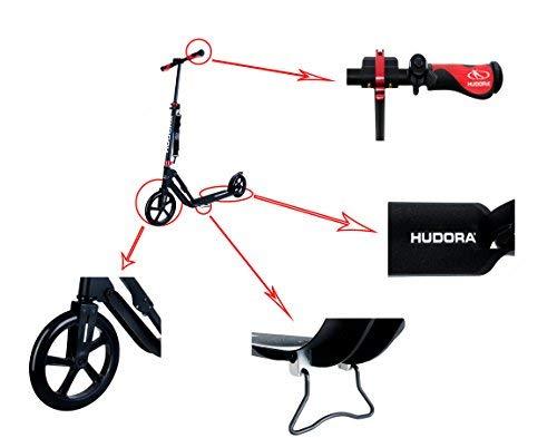 HUDORA 230 Kick Scooter for Adults, Big PU Wheels, Folding Frame, Adjustable Height (Black)