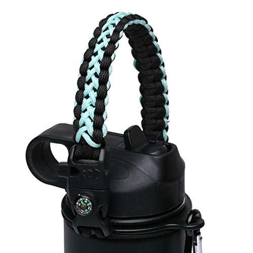 MORLA Handle for Hydro Flask,Paracord Survival Strap with Security Ring for Simple Modern and Other Wide Mouth Water Bottles. (Green Cross/Black) -
