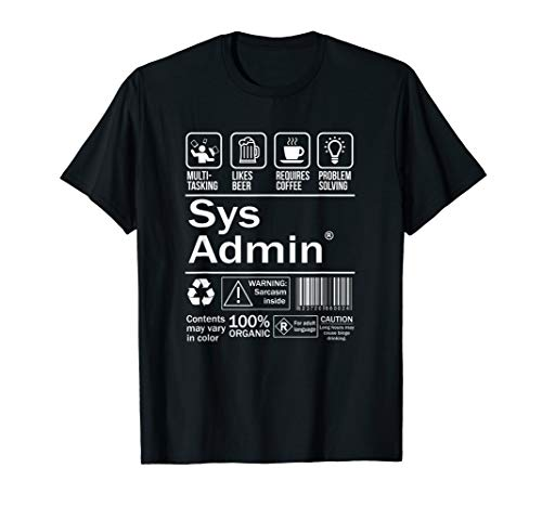System Administrator Product Label T-Shirt Unix Linux Coffee