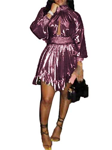 LROSEY Women's Casual Cut Out V Neck Mini Dress Long Sleeve Ruffle Short Dresses Plain Sparking Party Club Cocktail Clubwear Plus Size Pink
