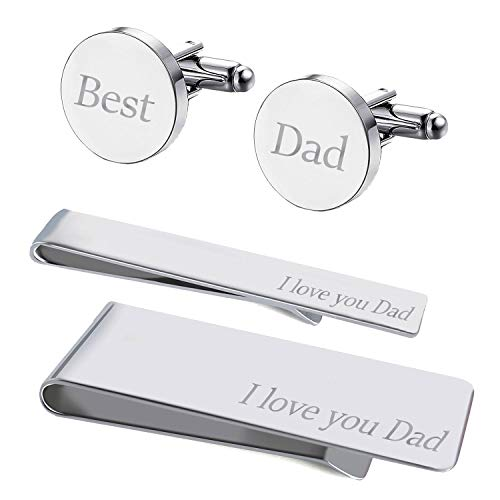 (BodyJ4You 4PC Cufflinks Tie Bar Money Clip Button Shirt Love Best Dad Box Set)