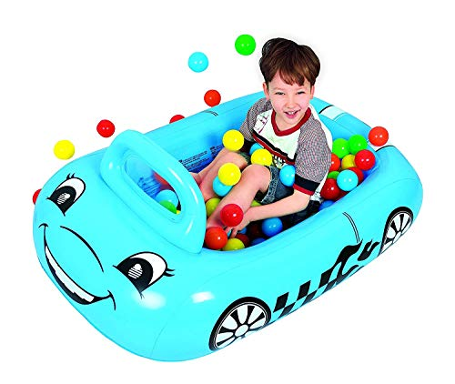 Cars Pit - Taylor Toy Car-Shaped Inflatable Ball Pit for Toddlers - Inflatable Playpen for Kids - Includes 50 Multi Colored Balls (Blue)