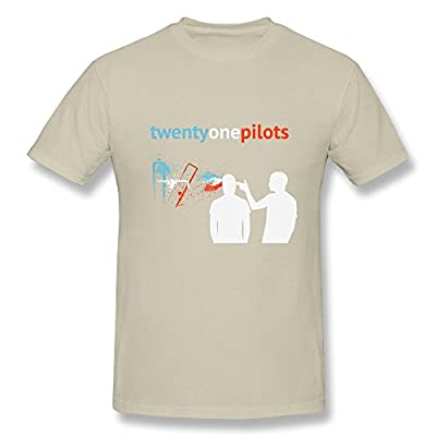 SHUNAN Men's Twenty One Pilots T-shirt Size L Natural