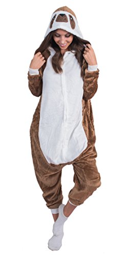 Sloth Costume Women (Adult Onesie Sloth Animal Pajamas Comfortable Costume with Zipper and Pockets (Large Plush))
