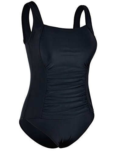 Firpearl Women's Backless One Piece Bathing Suit Ruched Tummy Control Swimsuit Black US6 by Firpearl (Image #2)