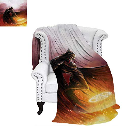 Super Soft Lightweight Blanket Superhero in His Original Costume Flying Up Magic Flame Save The World Theme Oversized Travel Throw Cover Blanket 80
