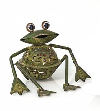 Grüner Rost amazon de teelichthalter frosch freddy metall in grüner rost