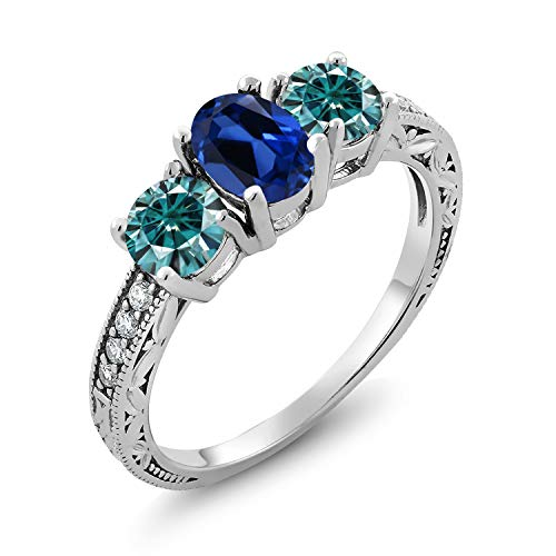 925 Sterling Silver 3-Stone Ring Oval Blue Simulated Sapphire and Vivid Blue Created Moissanite 1.00ct (DEW) (Size 8)