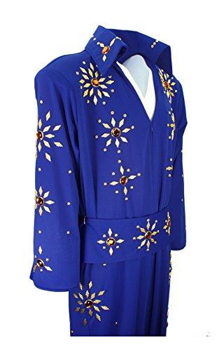 Men's Elvis Presley Deluxe Jumpsuit Costume with Cape (3XL, Blue (Orange Stones)) (Las Vegas Costume Rental)