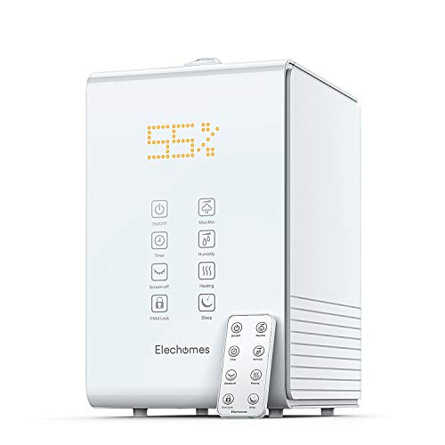 Elechomes SH8820 Ultrasonic Top Fill Humidifier 5.5L Vaporizer Warm and Cool Mist Humidifiers for Large Room Bedroom Babies with Remote, Humidity Monitor, 12-40 Hours, 550ml/h Max Humidity (White) (Room Humidifiers Warm)
