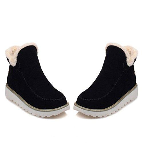 Mujer De con … De Nieve De Zapatos Forro CáLida Piel Botines Toamen Planos Negro Invierno q8np1wxTt