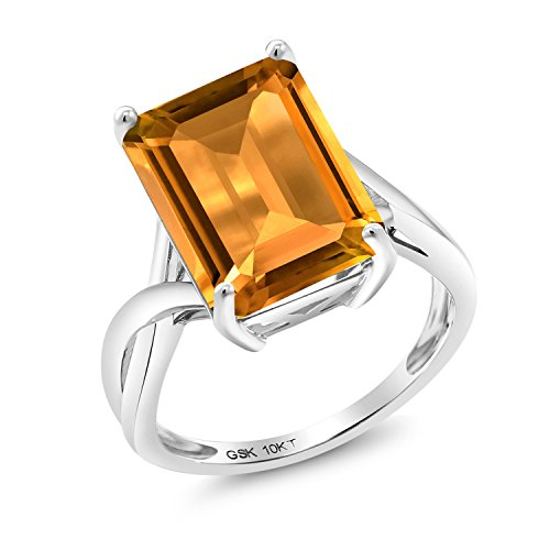 (8.20 Ct Octagon Yellow Citrine 10K White Gold Ring (Size 8))