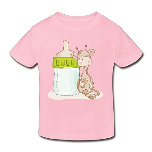 QDWE Baby T Shirt, Giraffe Infants Crew Neck Tee Baby Tops For Girls Boys Pink