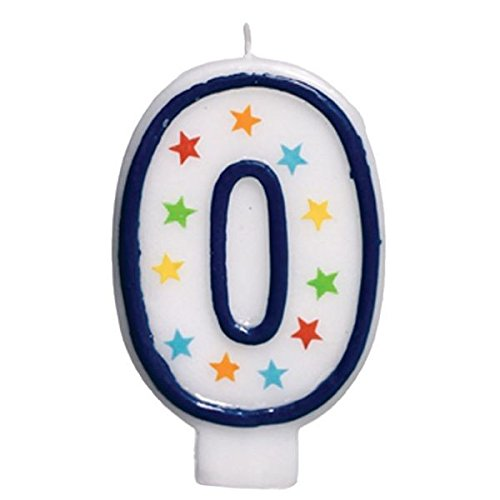 Star Studded Flat Molded Number 0 Celebration Candle, White , 3.5