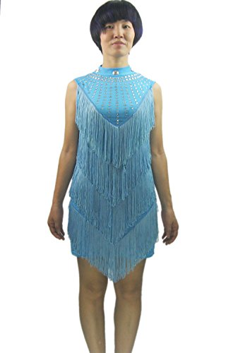 Ocean Dance Costumes (Whitewed Fringe Beaded Modest Latin Ballroom Dance Recital Dresses Costumes, Ocean Blue, One Size)