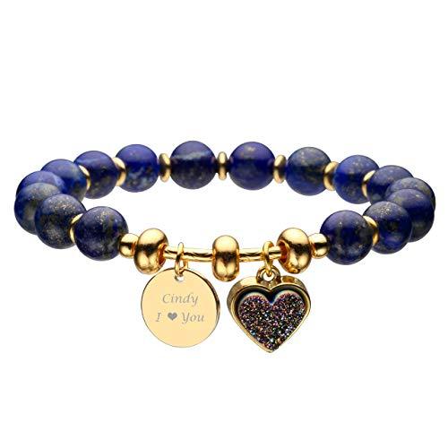 - Jovivi Personalized Custom Name Heart-Shape Titanium Coated Druzy Dyed Lapis Lazuli Semi Precious Gemstone Round Beads Healing Crystal Bracelet