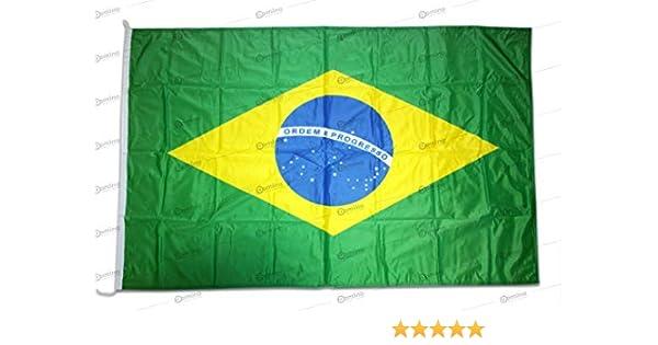 Bandera Brasil 150x100cm en tela náutico resistente al viento 115g/m², bandera de Brasil 150x100cm, bandera brasileña 150x100cm con cordón o mosquetones, doble costura perimetral y cinta de refuerzo: Amazon.es: Jardín