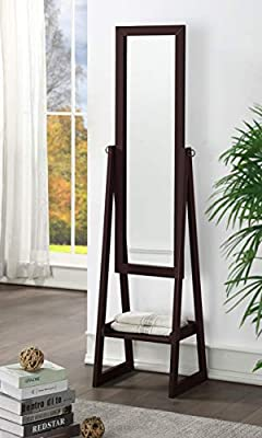 eHomeProducts Solid Wood Cheval Floor Standing Tilting Mirror with Bottom Shelf, Espresso Finish