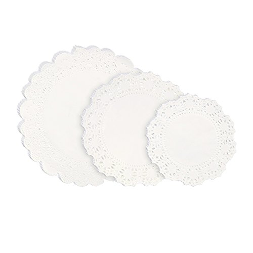 Lace Doilies Paper - 150-Piece Round Decorative Paper Placemats Bulk for Cake, Desert, Wedding, Tableware Decoration - 3 Assorted Sizes, 50 Pieces of Each Size, 6.5-Inch, 8.5-Inch, 10.5-Inch, White ()