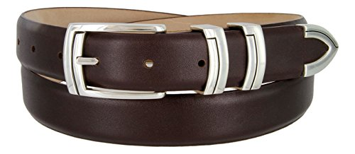 Harbor Men's Italian Genuine Calfskin Leather Designer Dress Belt In Smooth Brown, Size 32