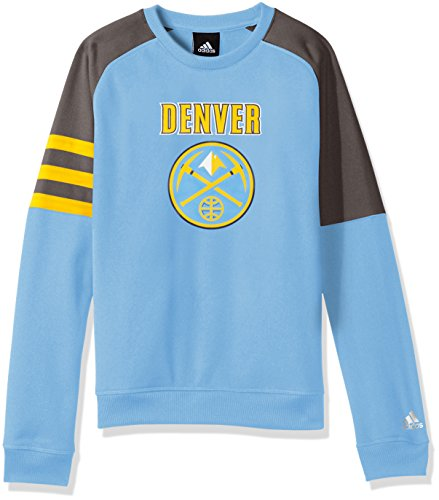 NBA Youth 8-20 Denver Nuggets Tech Fleece Long Sleeve Crew-Light Blue-M(10-12)