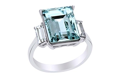 AFFY Emerald Aquamarine & White Cubic Zirconia Three Stone Ring in 925 Sterling Silver Ring Size-8