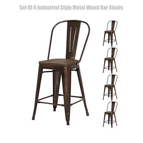 Classic Industrial Style Metal Barstool Solid Steel Construction Comfortable Backrest Scratch Resistant Side Chair Home Office Furniture - Set of 4 Brown 24