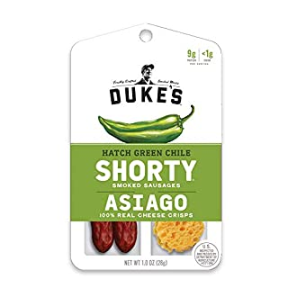 Duke's Shorty Smoked Sausages & Cheese Crisps, Hatch Green Chile & Asiago, 1 Ounce, 12 Count