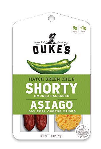 Duke's Shorty Smoked Sausages & Cheese Crisps, Hatch Green Chile & Asiago, 1 Ounce, 12 Count (Sausage And S)