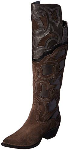 FRYE Women's Shane Embroidered Cuff Western Boot, Charcoal, 10 M US by FRYE