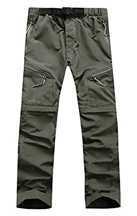 AIEOE Unisex Removable Trousers Lightweight Quick-Dry Hiking Sports Pants Outdoor Cargo Pants Army Green L