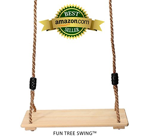 Fun Tree Swing - Delightful Classic Wooden Swing for Adults and Kids (Swing Set Toys)
