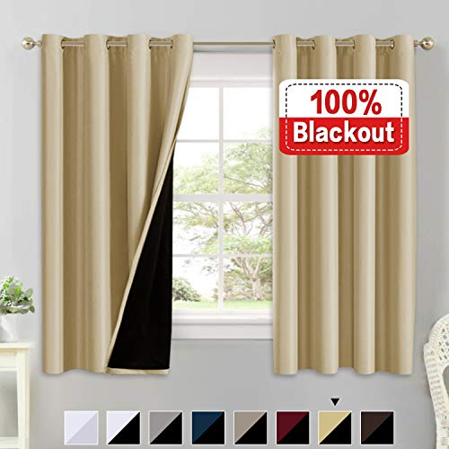 Flamingo P 100% Blackout Curtains 63 Length for Bedroom Linded Curtains 63 Inches Long Faux Silk Thermal Insulated Blackout Curtains with Black Liner 63 Inch Double Layer Curtain Set 2 Panels, Wheat