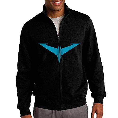 She Hulk Costume Shirt (ILKU Men's Nightwing Logo Zip-Front Hoodies Jackets Black Size XL)