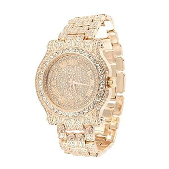 Mens Roman Numeral dial Iced Out Rose Tone Watch Metal Band Jojo Rodeo Jojino - Watch Tone Iced Out